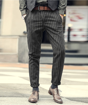 Slim Fit Straight Casual Stripe Pants