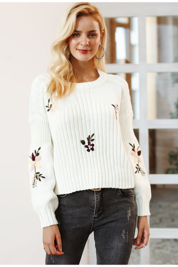 New Embroidery Floral Knitted Sweater -NowFashionTrend.com