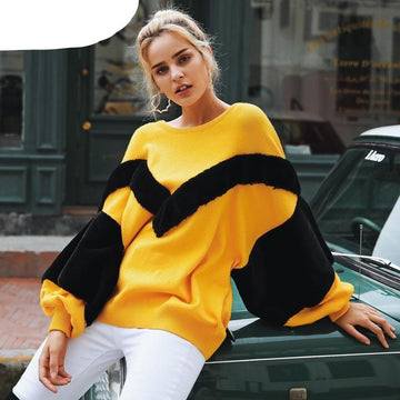 Faux Fur Sweater Bat-Wing sleeve - loose-NowFashionTrend.com