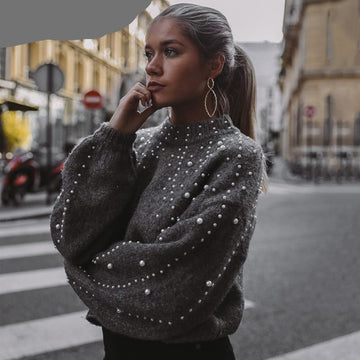 Bead Lantern Sleeve Knitted Sweater-NowFashionTrend.com