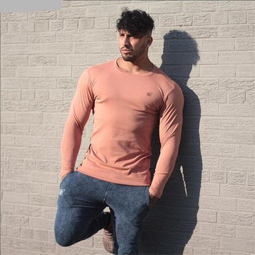 Long Sleeves Mens Cotton Fitness T Shirt - NowFashionTrend.com