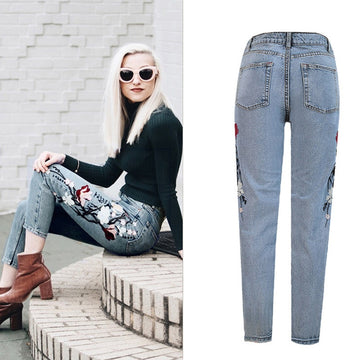 New embroidered high waist jeans- NowFashionTrend.com