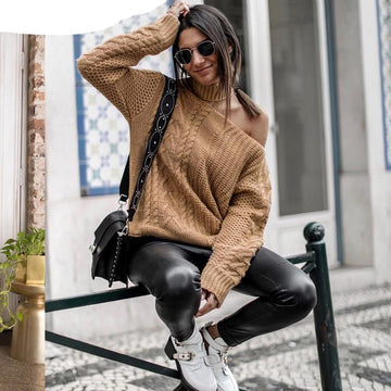 Twist Knitting Sweater - Cold Shoulder-NowFashionTrend.com
