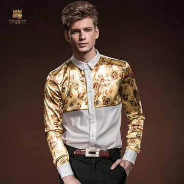 Slim Long Sleeved Mosaic Floral Stitching Shirt-NowFashionTrend.com