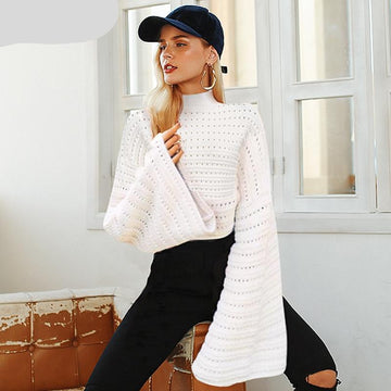 Elegant White Hollow Out Knitted Sweater-NowFashionTrend.com