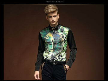 Print Slim Long Sleeve Shirt-NowFashionTrend.com