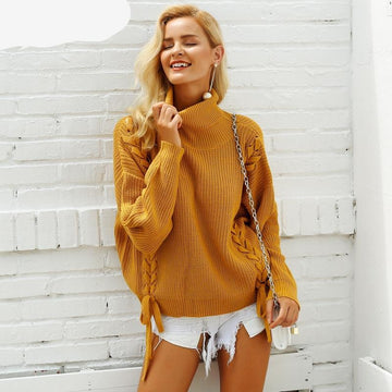 Turtleneck Lace Up Sweaters-NowFashionTrend.com