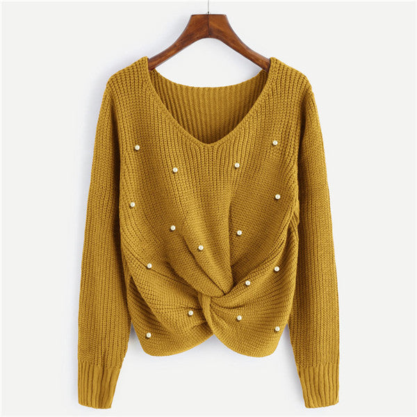 V Neck Pearl Beading Casual Sweater-NowFashionTrend.com