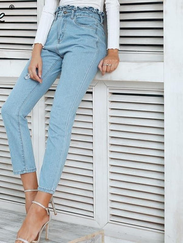 Casual Push Up Jeans High Waist  Jeans -NowFashionTrend.com