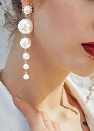 Pearl Drop Earrings-NowFashionTrend.com
