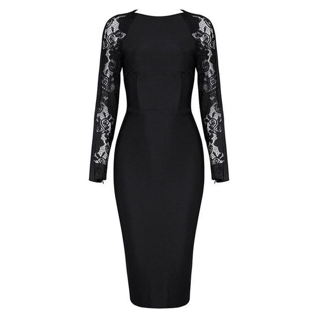 Floral Lace Long Sleeve Hollow Out Party Dress-NowFashionTrend.com