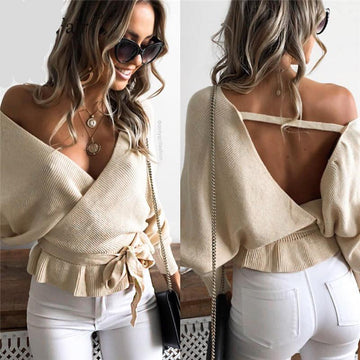 Sexy Backless Bow Tie Up Knitted Sweater-NowFashionTrend.com