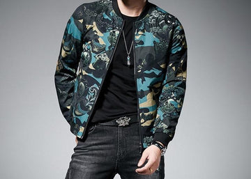 Green Print Bomber Jacket-NowFashionTrend.com