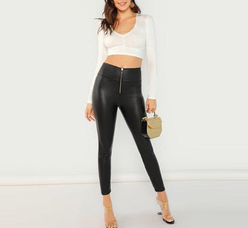 Exposed Zip Front Black Leggings -NowFashionTrend.com