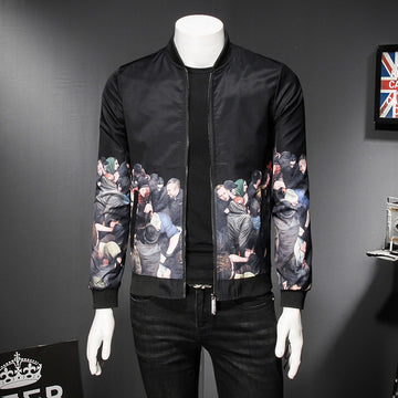 New Contrast Solid Print Bomber Jacket-NowFashionTrend.com