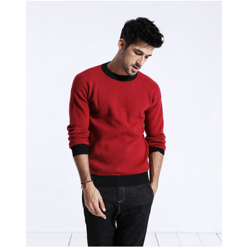 Contrast Color Sweater - O-Neck Knitted-NowFashionTrend.com