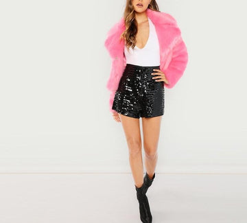 Solid Sequin Embroidery Sexy Shorts -NowFashionTrend.com