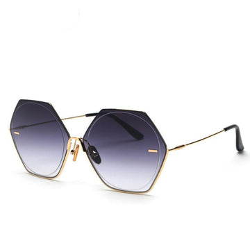 Over-sized Hexagon Metal Frame Vintage  Sunglasses-NowFashionTrend.com