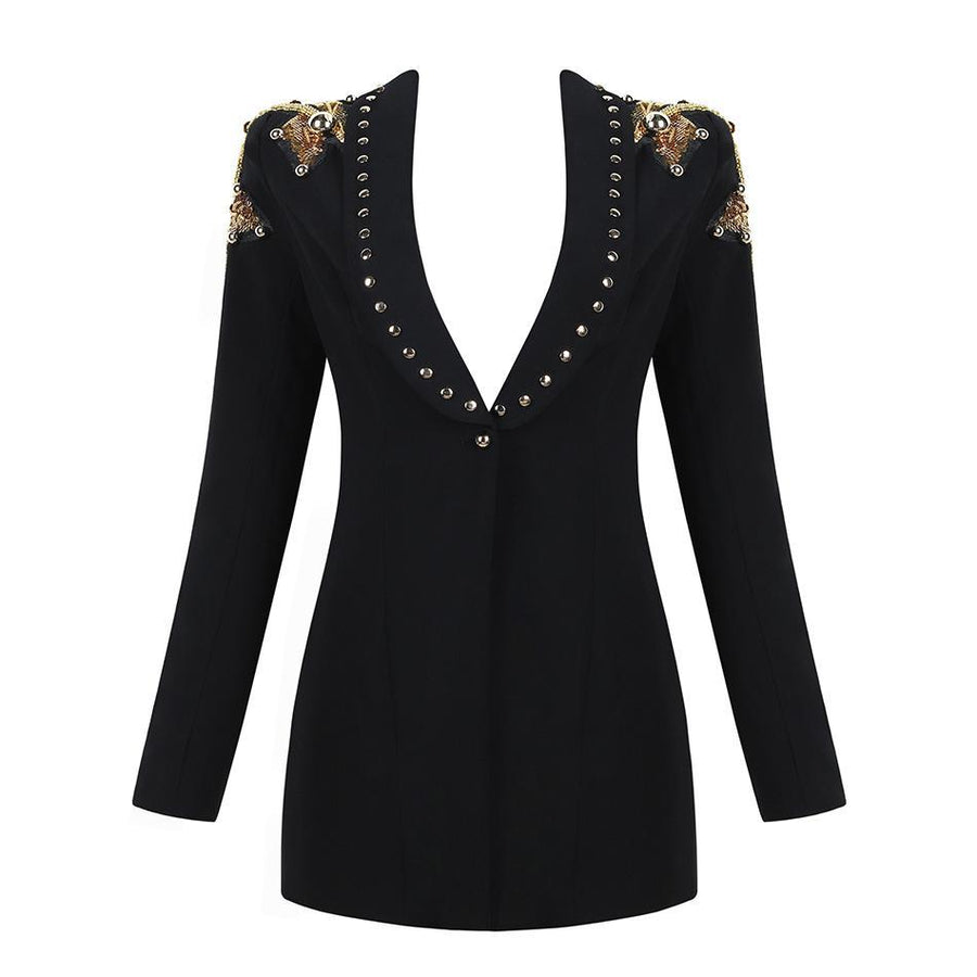 Deep V-Neck Sequin Bead Coats -NowFashionTrend.com