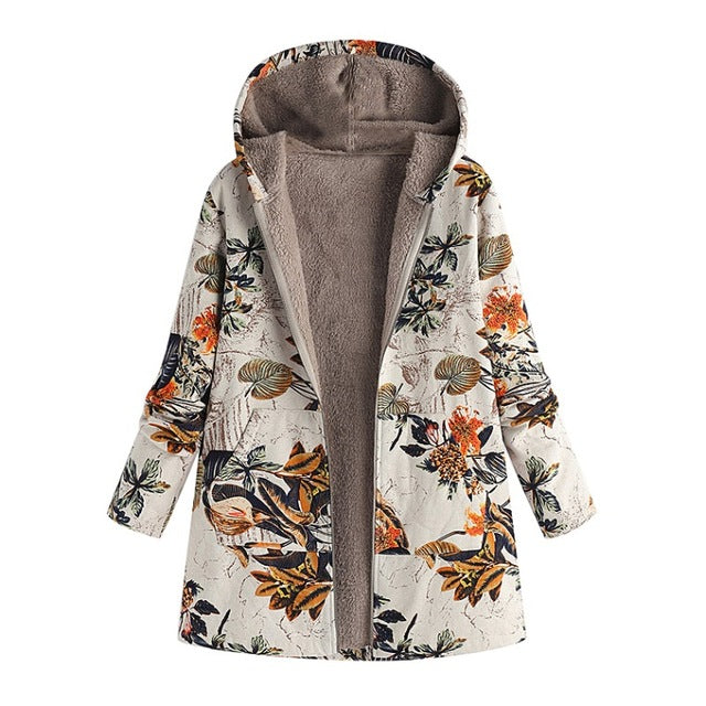 Floral Print Side Pockets Warm Coat - NowFashionTrend.com