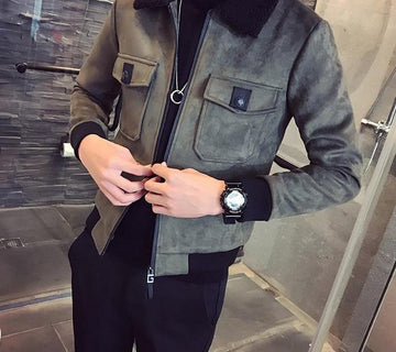 Slim Fit Suede Warm Jacket -NowFashionTrend.com