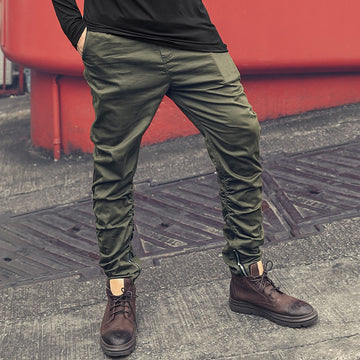 Casual Zipper Army Green Pants