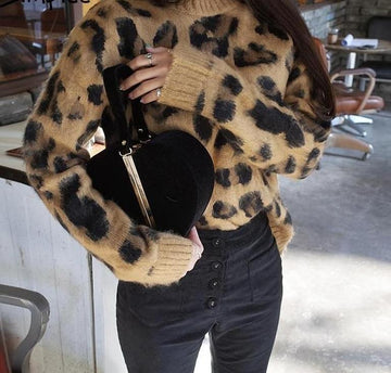 Sexy Leopard Knitted Winter Sweater -NowFashionTrend.com
