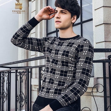 Round Neck Plaid Sweatshirts