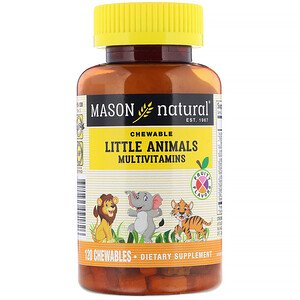 Mason Natural, Little Animals Multivitamins, Fruity Flavors, 120 Chewables