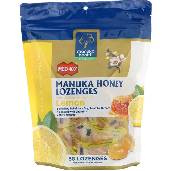 Manuka Health, Manuka Honey Lozenges, MGO 400+, Lemon, 58 Lozenges
