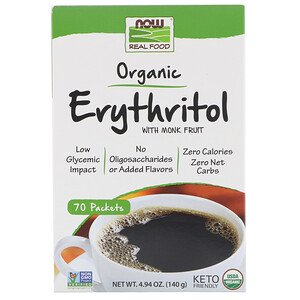 Now Foods, Real Food, Organic Erythritol with Monk Fruit, 70 Packets