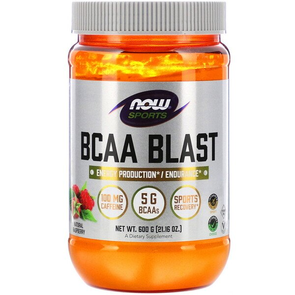 Now Foods, Sports, BCAA Blast, Natural Raspberry, 21.16 oz (600 g)