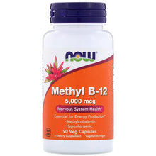 Load image into Gallery viewer, Now Foods, Methyl B-12, 5,000 mcg, 90 Veg Capsules