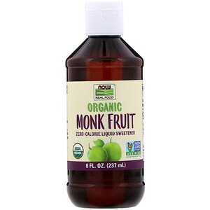 Now Foods, Real Food, Organic Monk Fruit, Zero-Calorie Liquid Sweetener, 8 fl oz (237 ml)