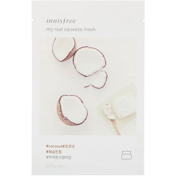 Innisfree, My Real Squeeze Mask, Coconut, 1 Sheet, 0.67 fl oz (20 ml)