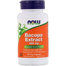Load image into Gallery viewer, Now Foods, Bacopa Extract, 450 mg, 90 Veg Capsules