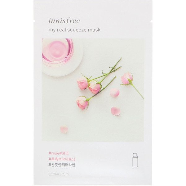 Innisfree, My Real Squeeze Mask, Rose, 1 Sheet, 0.67 fl oz (20 ml)