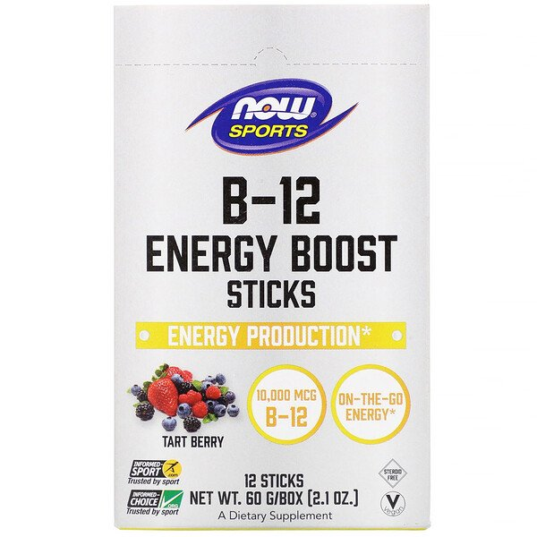 Now Foods, Sports, B-12 Energy Boost Sticks, Tart Berry, 10,000 mcg, 12 Sticks, 2.1 oz (60 g)