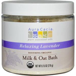 Aura Cacia Soothing Organic Milk & Oat Bath Relaxing Lavender (276g)