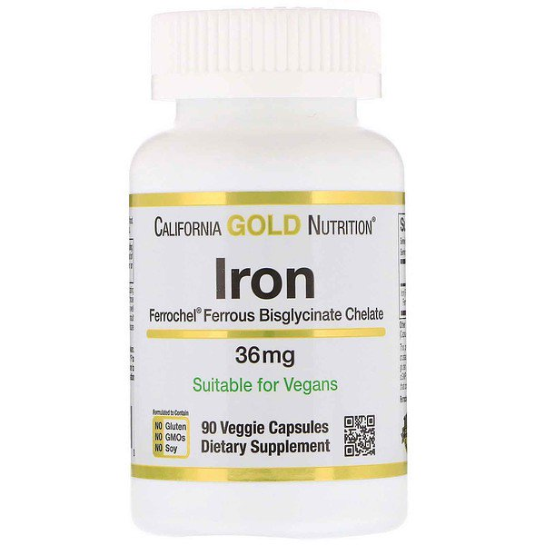 California Gold Nutrition, Ferrochel Iron (Bisglycinate), 36 mg, 90 Veggie Capsules