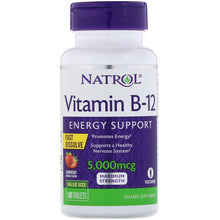 Load image into Gallery viewer, Natrol, Vitamin B-12, Fast Dissolve, Maximum Strength, Strawberry, 5,000 mcg, 100 Tablets