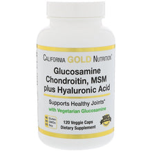 Load image into Gallery viewer, California Gold Nutrition, Glucosamine, Chondroitin, MSM Plus Hyaluronic Acid, 120 Veggie Caps