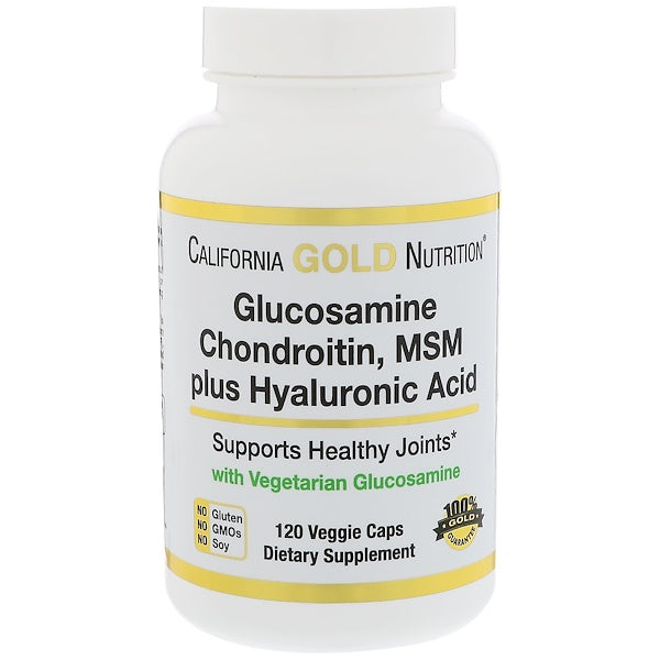California Gold Nutrition, Glucosamine, Chondroitin, MSM Plus Hyaluronic Acid, 120 Veggie Caps