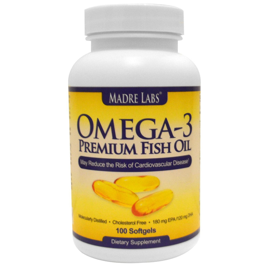 Madre Labs Omega-3 Premium Fish Oil 180mg EPA/120mg DHA 100 Softgels