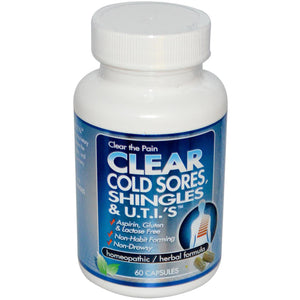 Clear Products, Clear Cold Sores, Shingles & U.T.I's, 60 Capsules