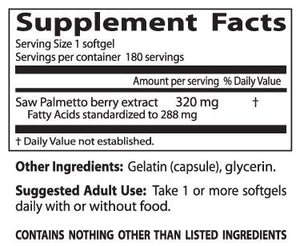 Doctor's Best Saw Palmetto Standardised Extract 320mg 180 Soft Gels