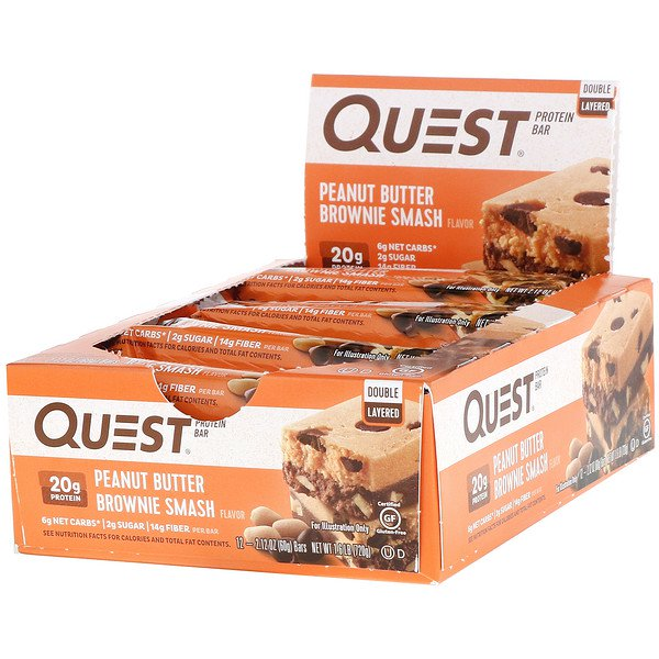 Quest Nutrition, Double Layered Protein Bar, Peanut Butter Brownie Smash, 12 Bars, 2.12 oz (60 g ) Each