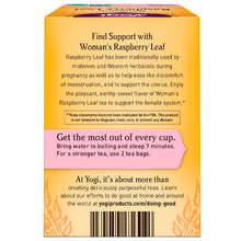 Load image into Gallery viewer, Yogi Tea, Woman's Raspberry Leaf, Caffeine Free, 16 Tea Bags, 1.02 oz (29 g)