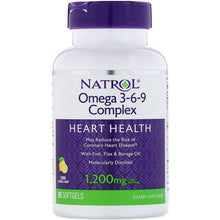 Load image into Gallery viewer, Natrol, Omega 3-6-9 Complex, Lemon, 1,200 mg, 90 Softgels