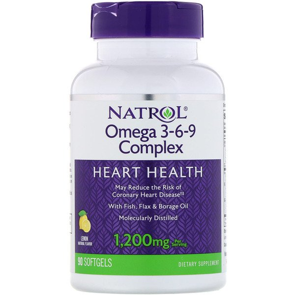 Natrol, Omega 3-6-9 Complex, Lemon, 1,200 mg, 90 Softgels